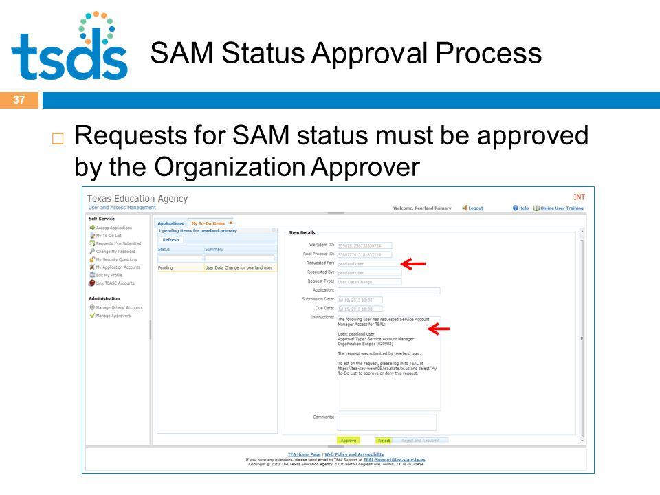 SAM Status Approval Process  Requests for SAM status must be approved by the Organization Approver 37