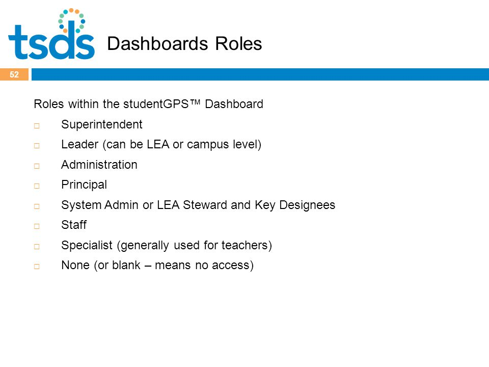 52 Roles within the studentGPS™ Dashboard  Superintendent  Leader (can be LEA or campus level)  Administration  Principal  System Admin or LEA Steward and Key Designees  Staff  Specialist (generally used for teachers)  None (or blank – means no access) Dashboards Roles