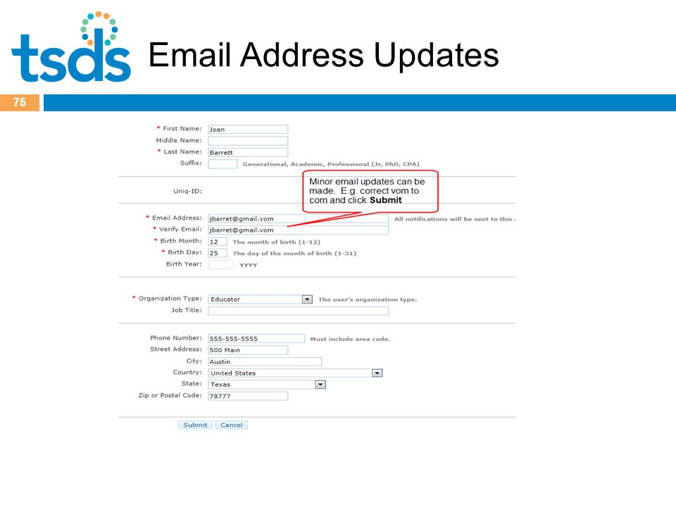 Email Address Updates 75