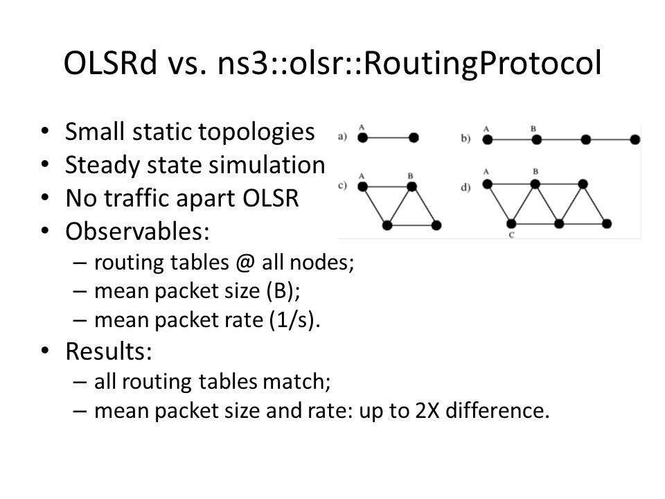 Calibration Find and fix the differences between OLSRd and NS-3 OLSR model until observables match.