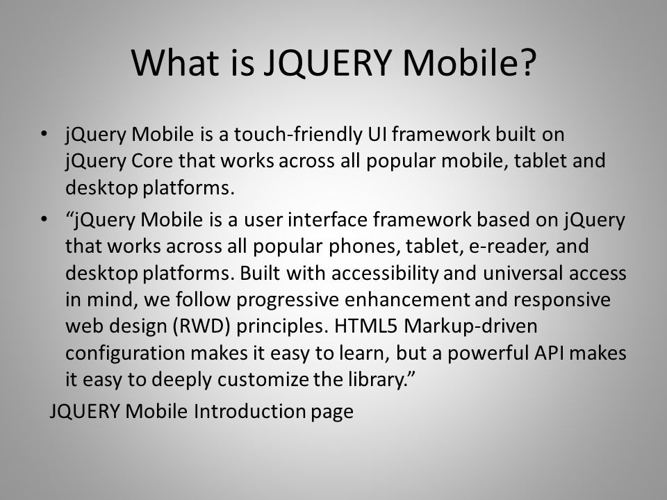 What is JQUERY Mobile.