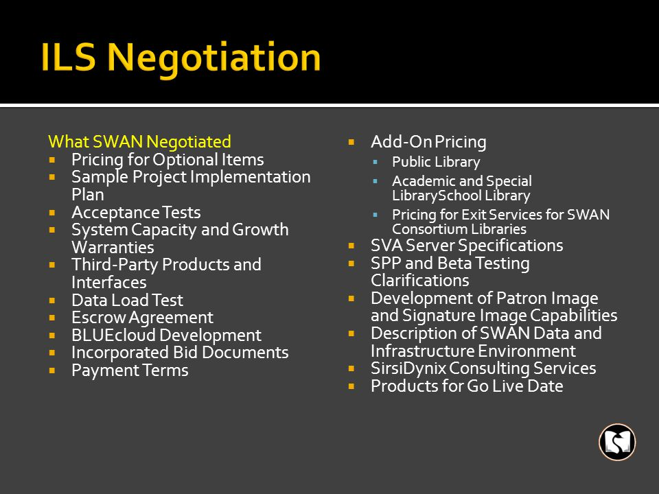 What SWAN Negotiated  Pricing for Optional Items  Sample Project Implementation Plan  Acceptance Tests  System Capacity and Growth Warranties  Third-Party Products and Interfaces  Data Load Test  Escrow Agreement  BLUEcloud Development  Incorporated Bid Documents  Payment Terms  Add-On Pricing  Public Library  Academic and Special LibrarySchool Library  Pricing for Exit Services for SWAN Consortium Libraries  SVA Server Specifications  SPP and Beta Testing Clarifications  Development of Patron Image and Signature Image Capabilities  Description of SWAN Data and Infrastructure Environment  SirsiDynix Consulting Services  Products for Go Live Date