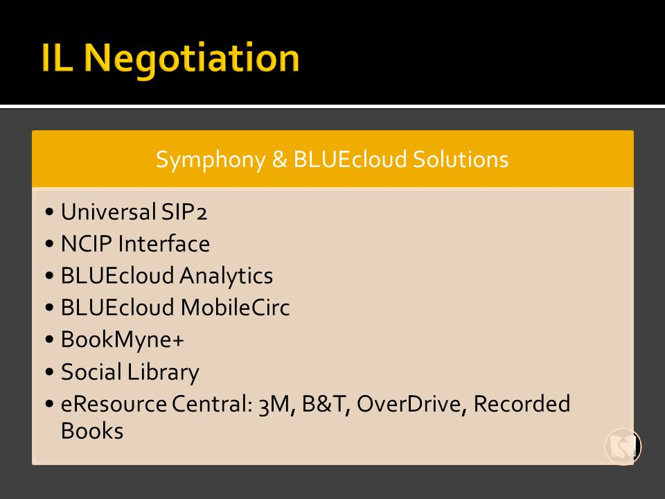Symphony & BLUEcloud Solutions Universal SIP2 NCIP Interface BLUEcloud Analytics BLUEcloud MobileCirc BookMyne+ Social Library eResource Central: 3M, B&T, OverDrive, Recorded Books