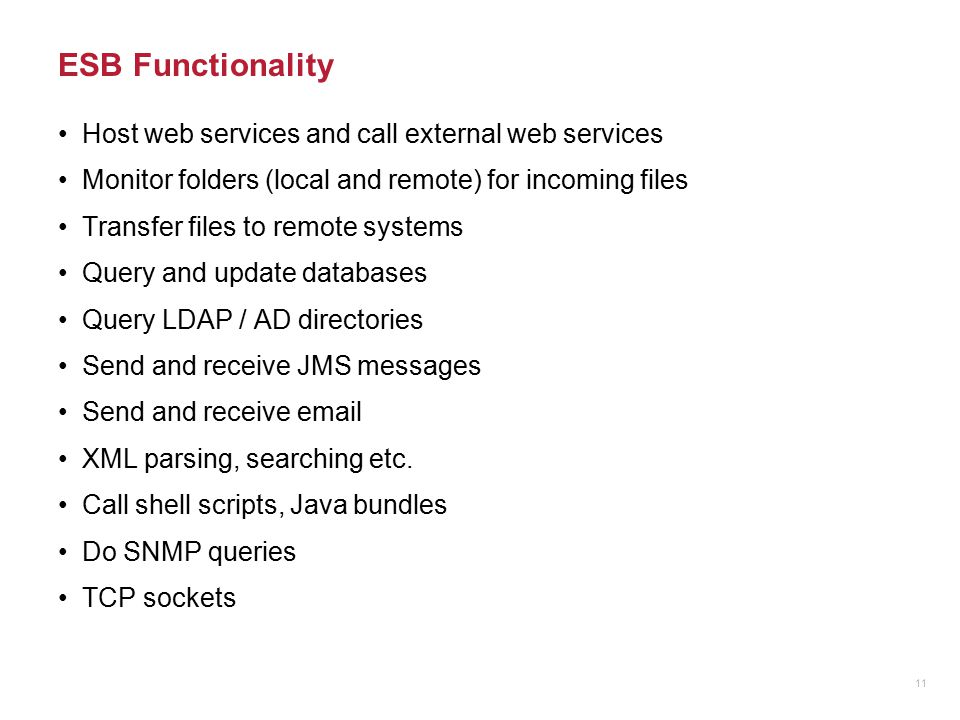 ESB Functionality Host web services and call external web services Monitor folders (local and remote) for incoming files Transfer files to remote syst