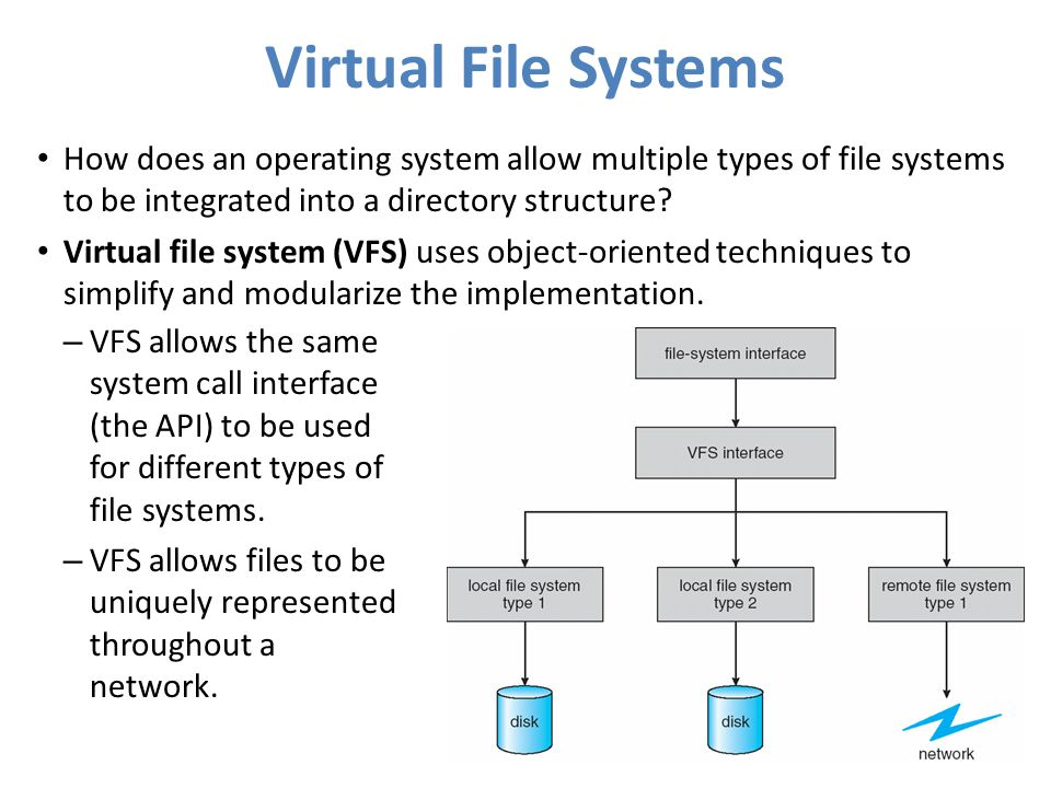 Virtual File Systems How does an operating system allow multiple types of file systems to be integrated into a directory structure? Virtual file syste