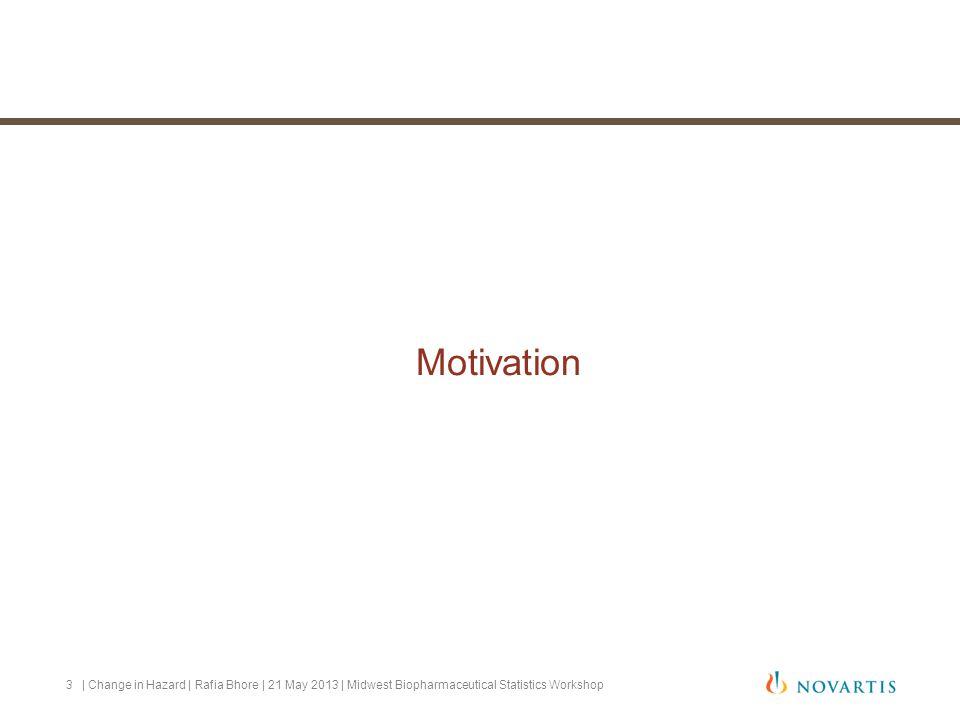 Motivation | Change in Hazard | Rafia Bhore | 21 May 2013 | Midwest Biopharmaceutical Statistics Workshop3