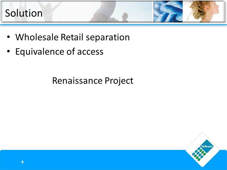 Wholesale Retail separation Equivalence of access Renaissance Project 4 Solution