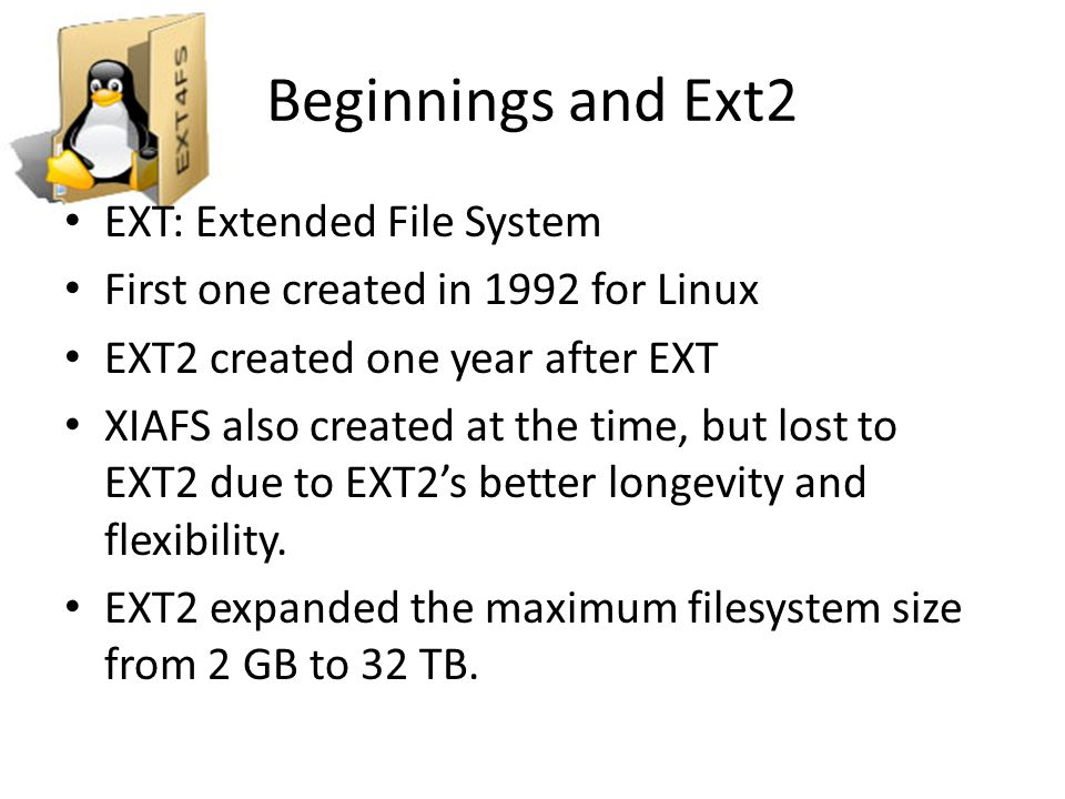 Ext4 Disk Layout (Overview)  Overview  array of logical blocks: reduces overhead, increases throughput  Each files block stored within same group  Layout (redundant superblock and group blocks)  Flexible block groups (multiple block groups tied together)  Meta block groups (cluster block groups in single disk block)  lazy block groups (uninitialize inode bitmap/table)  Special i-nodes (defective blocks, root, boot loader,…)  Block and inode Allocation (locality, delayed allocation, keep inode, directory, block group in same group  Checksums (detect/isolate errors)  Bigalloc (allocate disk blocks in multiple blocks-reduce frag) Group 0 Padding ext4 Super Block Group Descriptors Reserved GDT Blocks Data Block Bitmap inode Bitmap inode TableData Blocks 1024 bytes1 block many blocks 1 block many blocks many more blocks