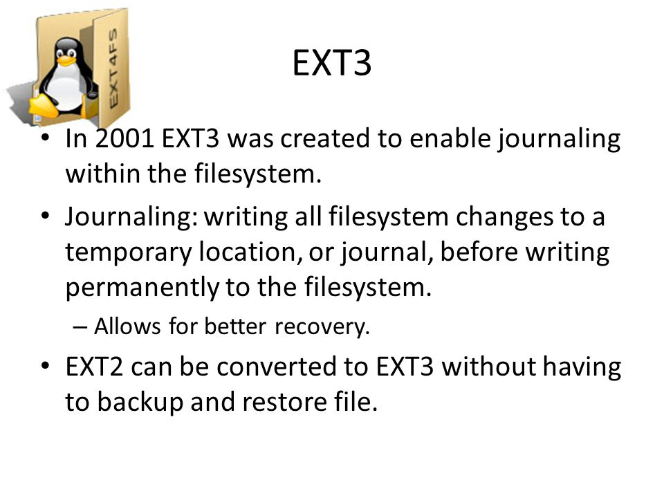 To enable the ext4 features on an existing ext3 filesystem, use the command: # tune2fs -O extents,uninit_bg,dir_index /dev/DEV WARNING: Once you run this command, the filesystem will no longer be mountable using the ext3 filesystem.