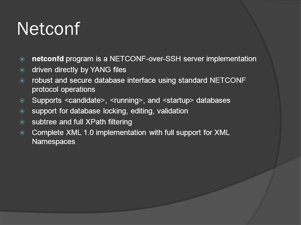 Netconf – DBs (XML document)