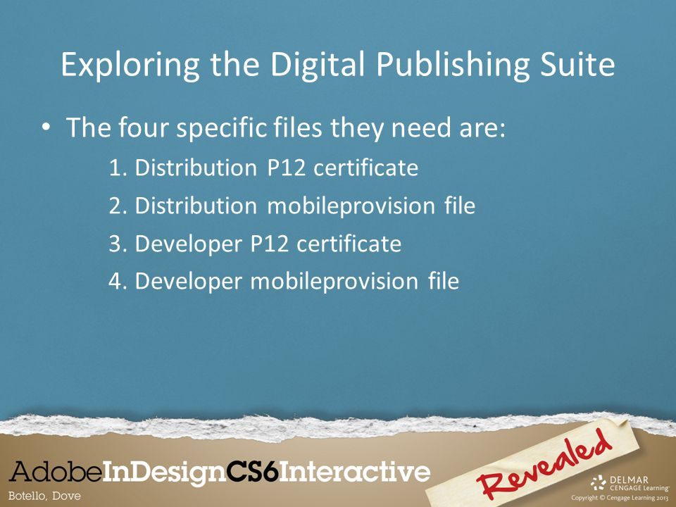 The four specific files they need are: 1. Distribution P12 certificate 2.