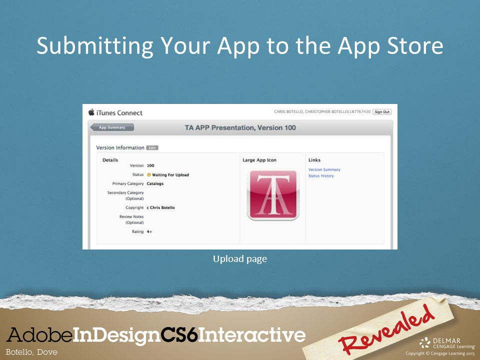 Upload page Submitting Your App to the App Store