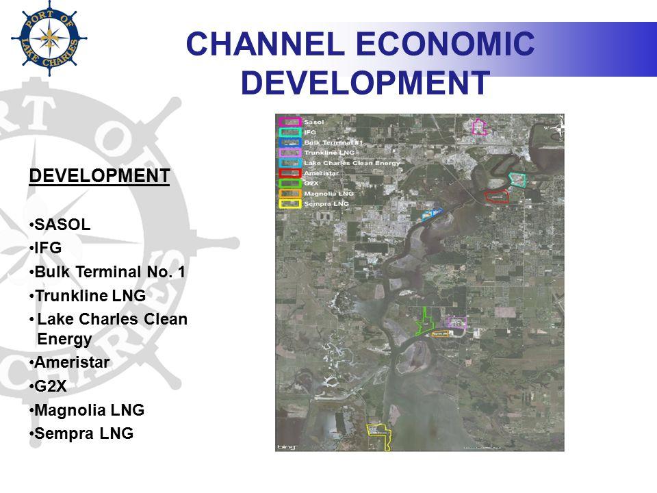 CHANNEL ECONOMIC DEVELOPMENT DEVELOPMENT SASOL IFG Bulk Terminal No. 1 Trunkline LNG Lake Charles Clean Energy Ameristar G2X Magnolia LNG Sempra LNG