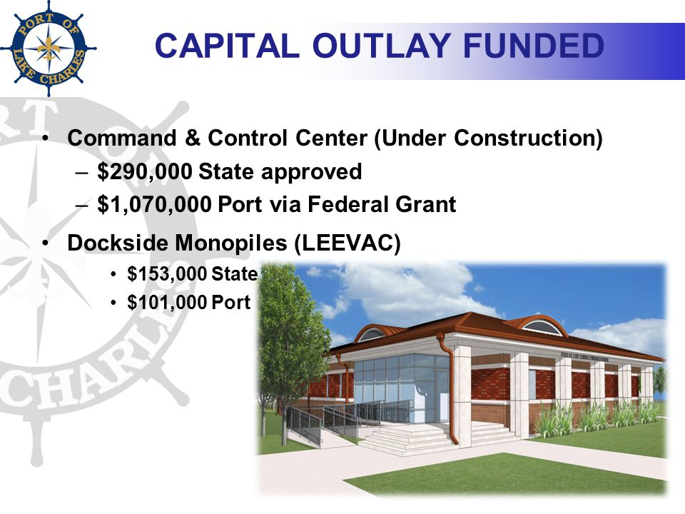 CAPITAL OUTLAY FUNDED Command & Control Center (Under Construction) –$290,000 State approved –$1,070,000 Port via Federal Grant Dockside Monopiles (LE