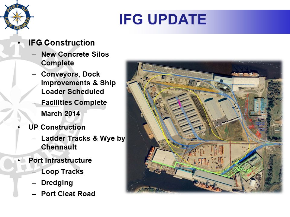 IFG UPDATE IFG Construction –New Concrete Silos Complete –Conveyors, Dock Improvements & Ship Loader Scheduled –Facilities Complete March 2014 UP Cons