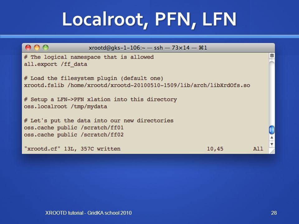Localroot, PFN, LFN XROOTD tutorial - GridKA school 201028