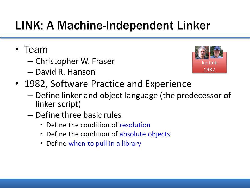 Linker; Post Optimizer; Instrumentation lcc link 1982 ? ? 後面的人好像重點 開始歪掉