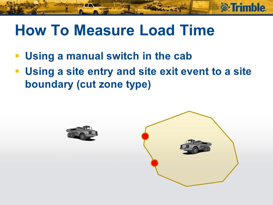 How To Measure Load Time  Using a manual switch in the cab  Using a site entry and site exit event to a site boundary (cut zone type)