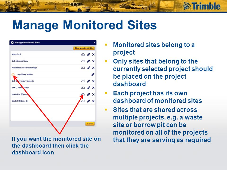 Manage Monitored Sites  Monitored sites belong to a project  Only sites that belong to the currently selected project should be placed on the project dashboard  Each project has its own dashboard of monitored sites  Sites that are shared across multiple projects, e.g.