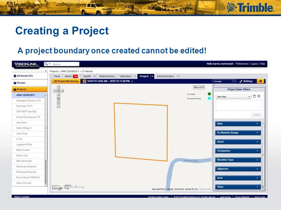 Creating a Project A project boundary once created cannot be edited!