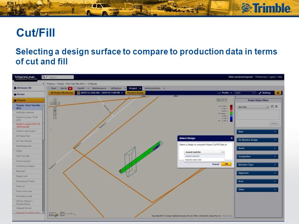 Cut/Fill Selecting a design surface to compare to production data in terms of cut and fill