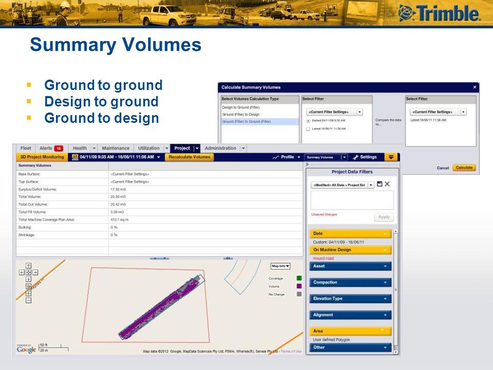 Summary Volumes  Ground to ground  Design to ground  Ground to design