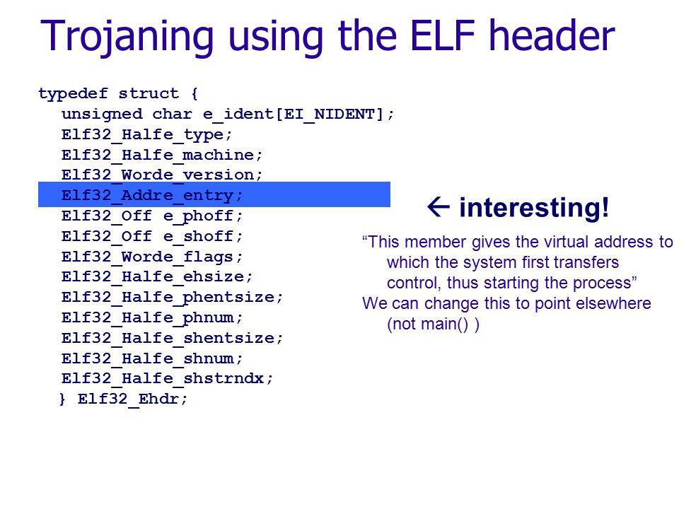 typedef struct { unsigned char e_ident[EI_NIDENT]; Elf32_Halfe_type; Elf32_Halfe_machine; Elf32_Worde_version; Elf32_Addre_entry; Elf32_Offe_phoff; Elf32_Offe_shoff; Elf32_Worde_flags; Elf32_Halfe_ehsize; Elf32_Halfe_phentsize; Elf32_Halfe_phnum; Elf32_Halfe_shentsize; Elf32_Halfe_shnum; Elf32_Halfe_shstrndx; } Elf32_Ehdr;  interesting.