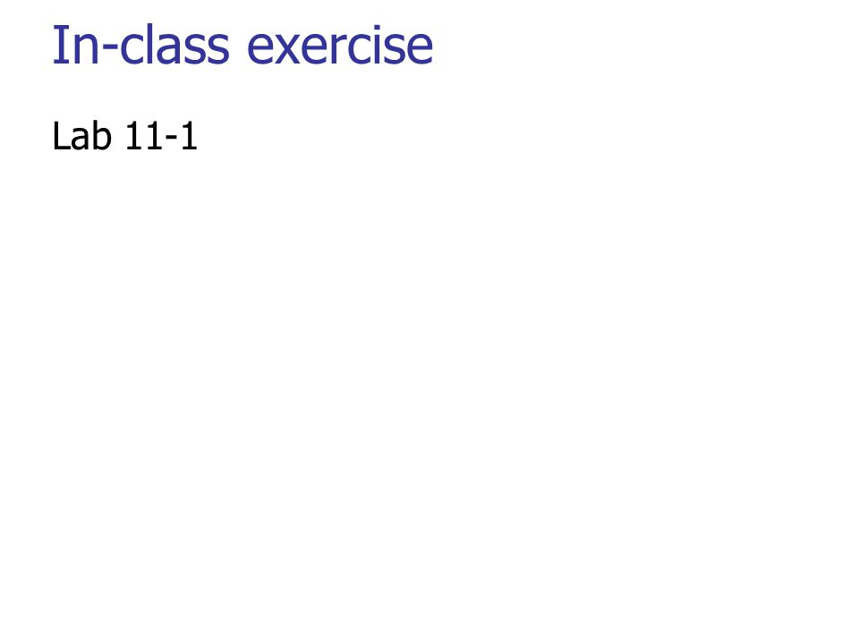 In-class exercise Lab 11-1