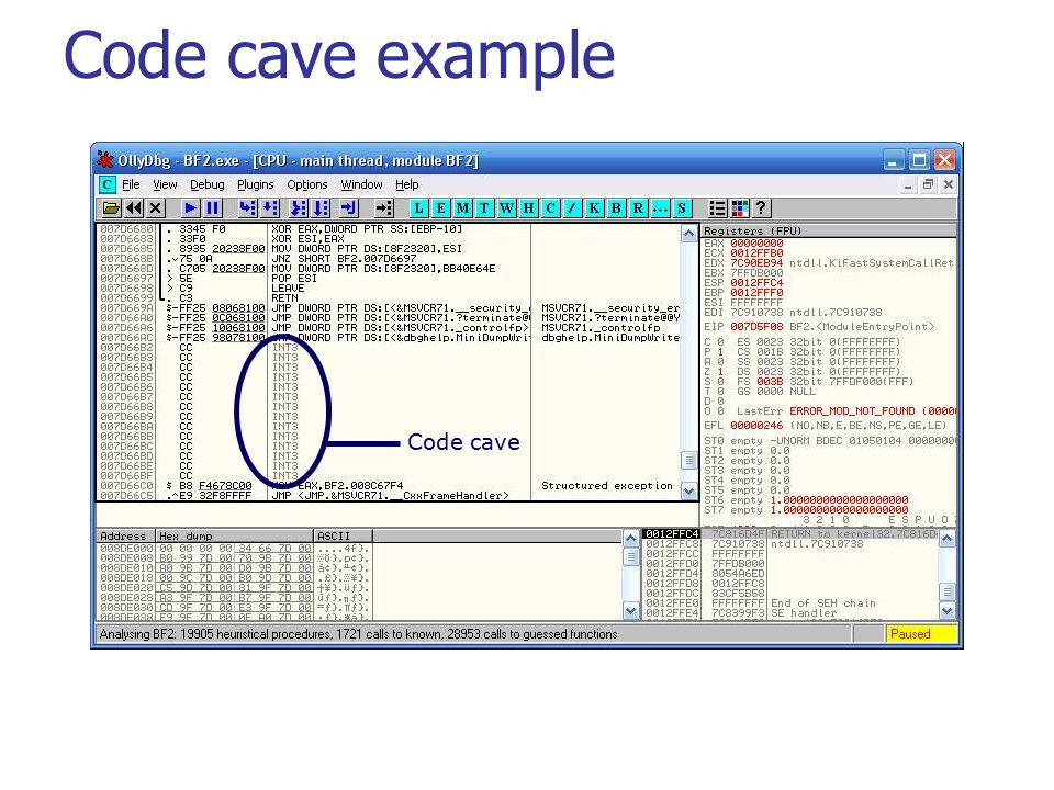Communications Technology Lab Code cave Code cave example