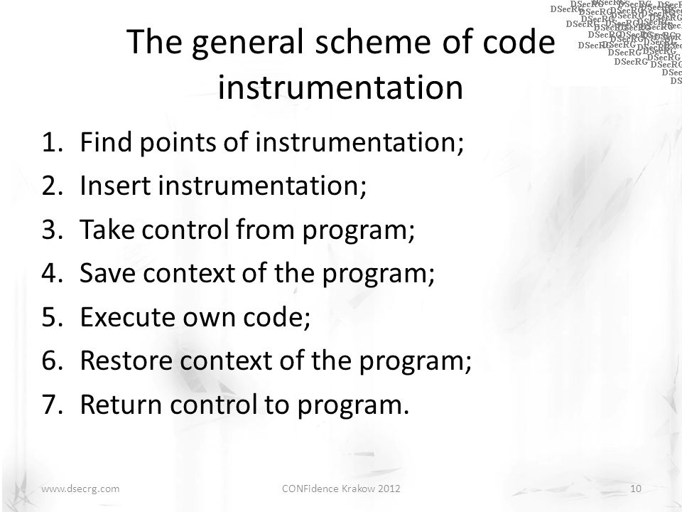 The general scheme of code instrumentation 1.Find points of instrumentation; 2.Insert instrumentation; 3.Take control from program; 4.Save context of
