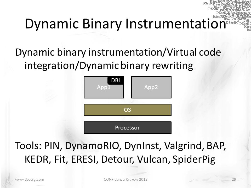 Dynamic Binary Instrumentation Dynamic binary instrumentation/Virtual code integration/Dynamic binary rewriting Tools: PIN, DynamoRIO, DynInst, Valgrind, BAP, KEDR, Fit, ERESI, Detour, Vulcan, SpiderPig CONFidence Krakow 201229www.dsecrg.com App1App2 Processor OS DBI