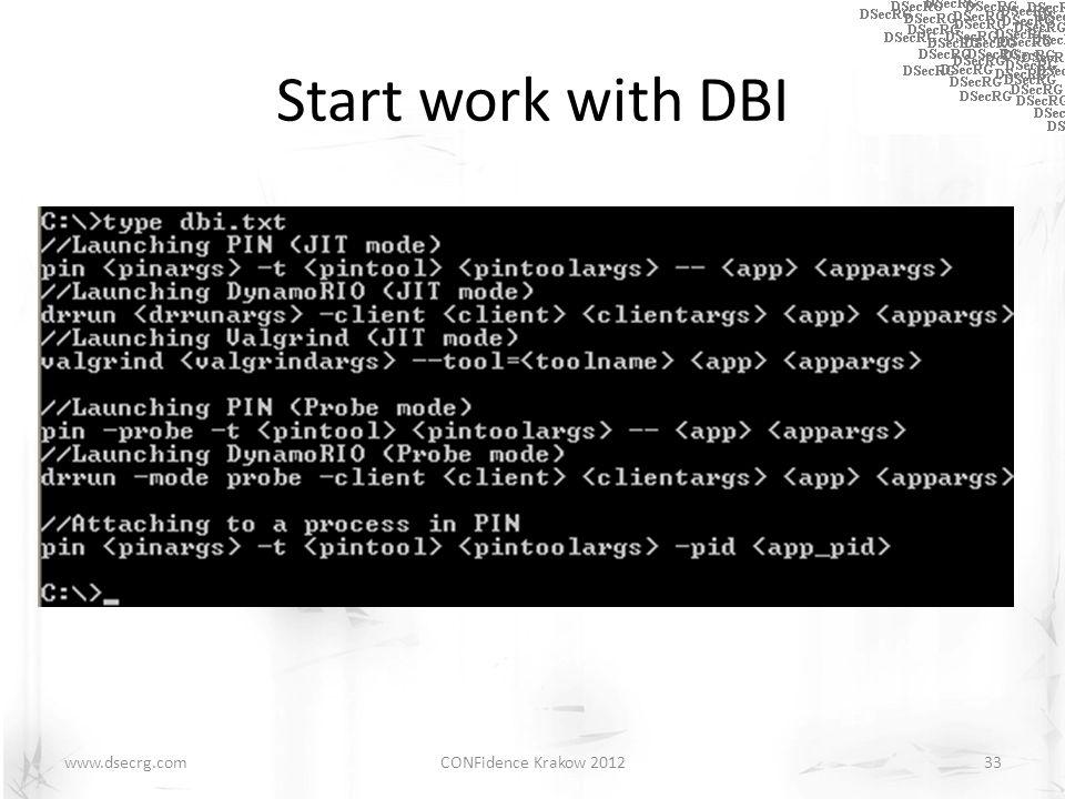 Start work with DBI CONFidence Krakow 201233www.dsecrg.com