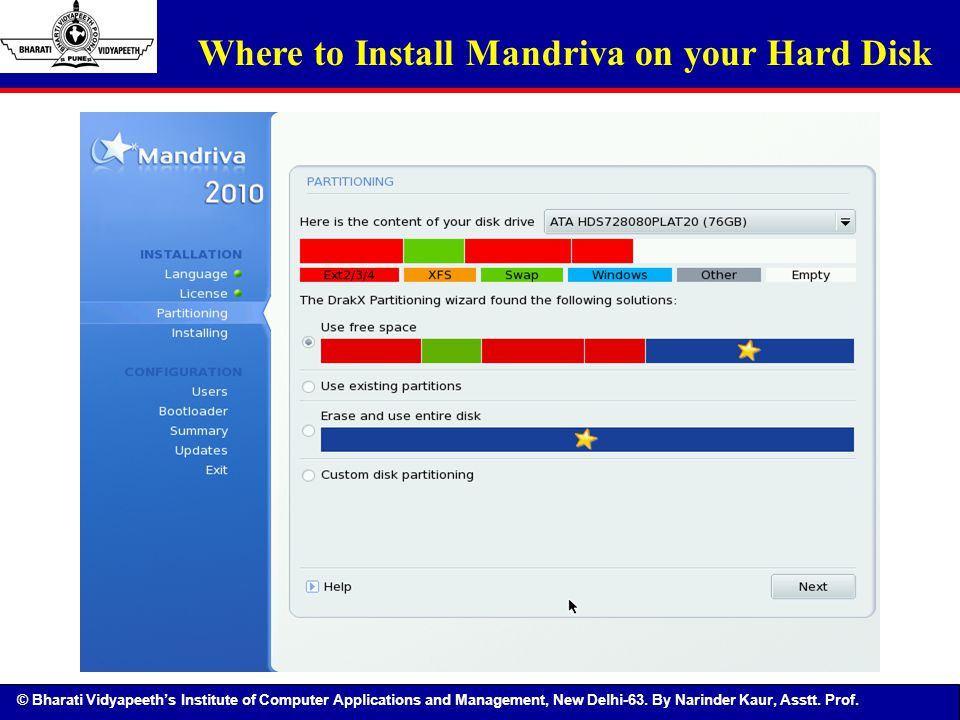 © Bharati Vidyapeeth's Institute of Computer Applications and Management, New Delhi-63. By Narinder Kaur, Asstt. Prof. Where to Install Mandriva on yo