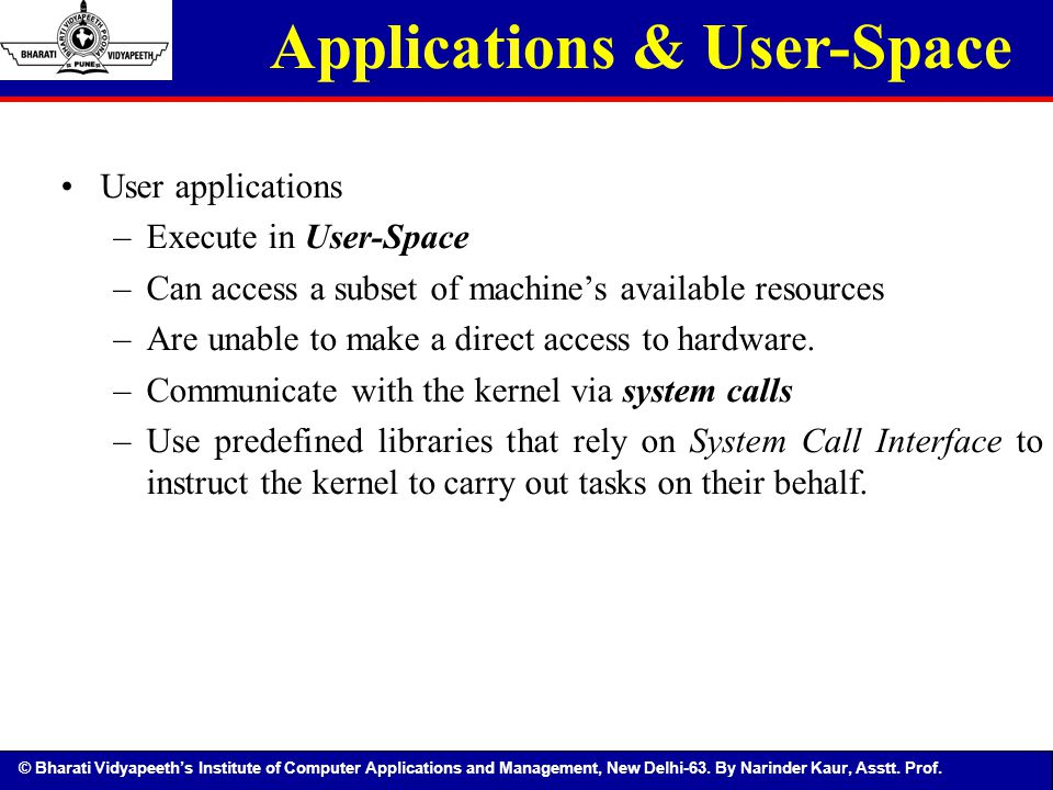 © Bharati Vidyapeeth's Institute of Computer Applications and Management, New Delhi-63. By Narinder Kaur, Asstt. Prof. Applications & User-Space User