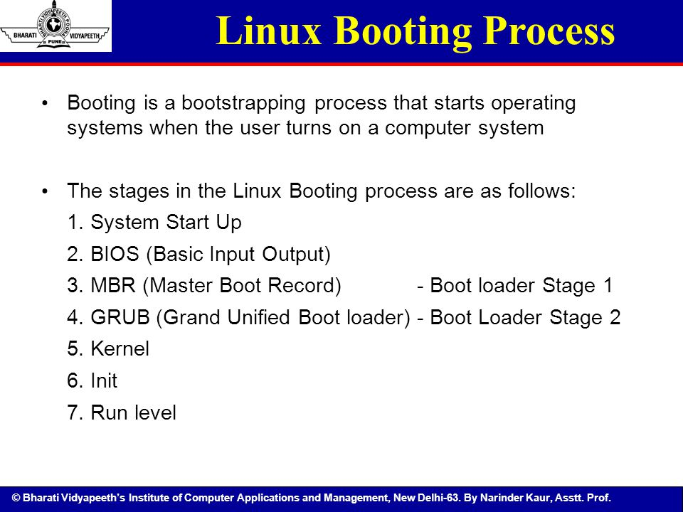 © Bharati Vidyapeeth's Institute of Computer Applications and Management, New Delhi-63. By Narinder Kaur, Asstt. Prof. Linux Booting Process Booting i