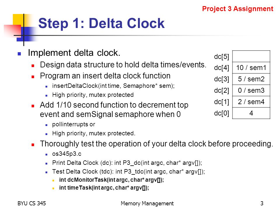 Step 1: Delta Clock Implement delta clock. Design data structure to hold delta times/events.