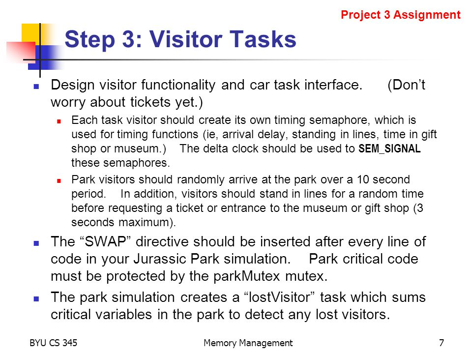 Design visitor functionality and car task interface.