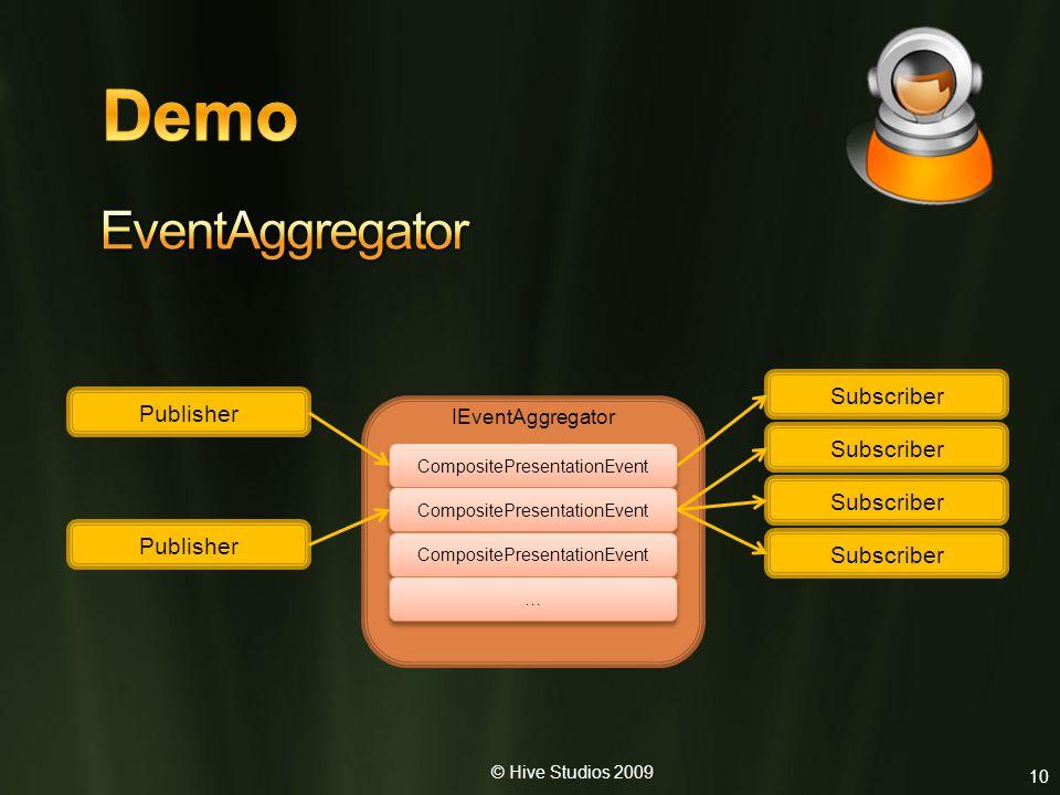 © Hive Studios 2009 10 Publisher Subscriber IEventAggregator CompositePresentationEvent … …