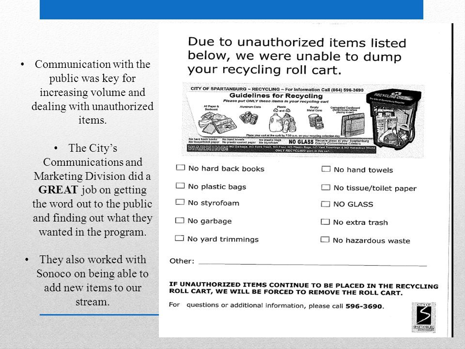 Communication with the public was key for increasing volume and dealing with unauthorized items.