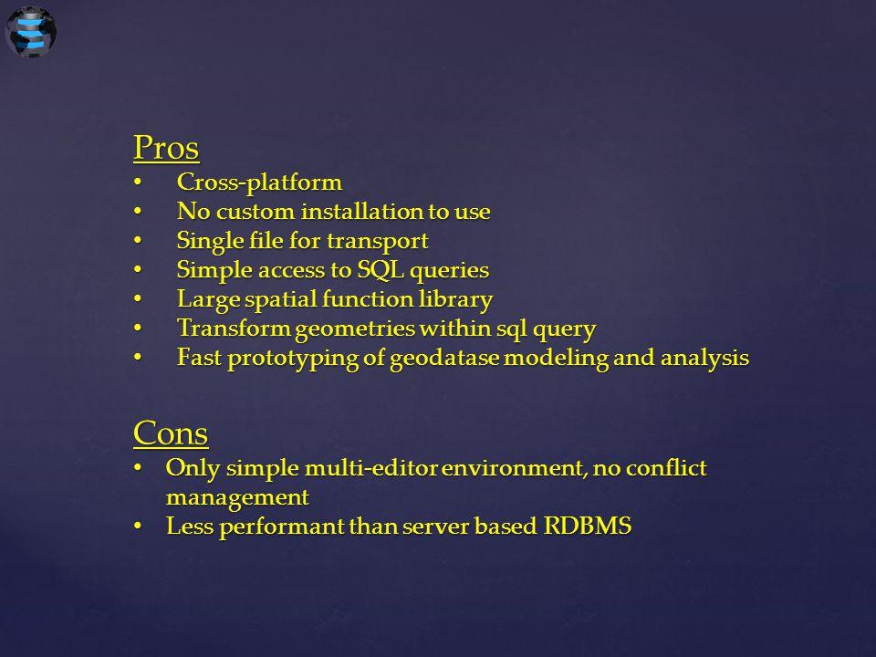 Pros Cross-platform Cross-platform No custom installation to use No custom installation to use Single file for transport Single file for transport Sim