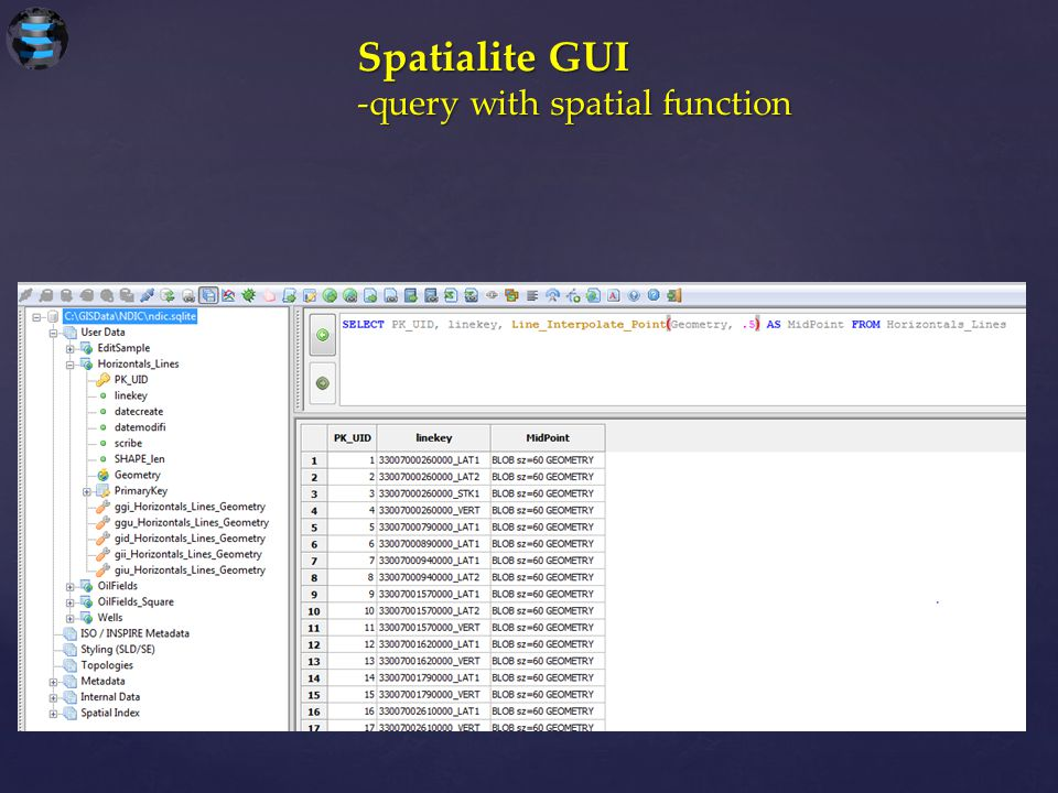 Spatialite GUI -query with spatial function