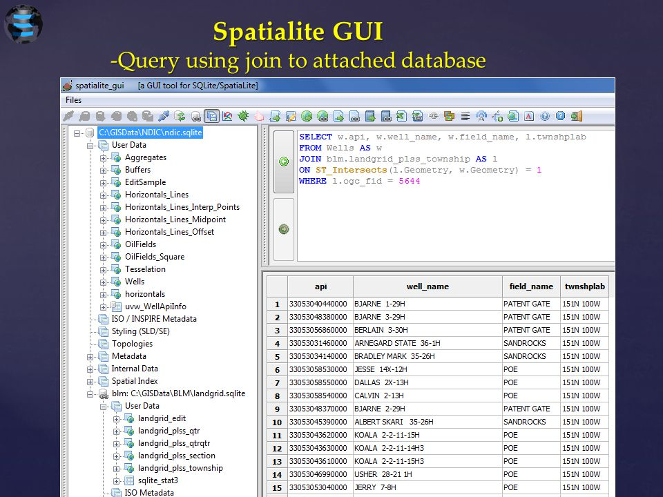 Spatialite GUI -Query using join to attached database