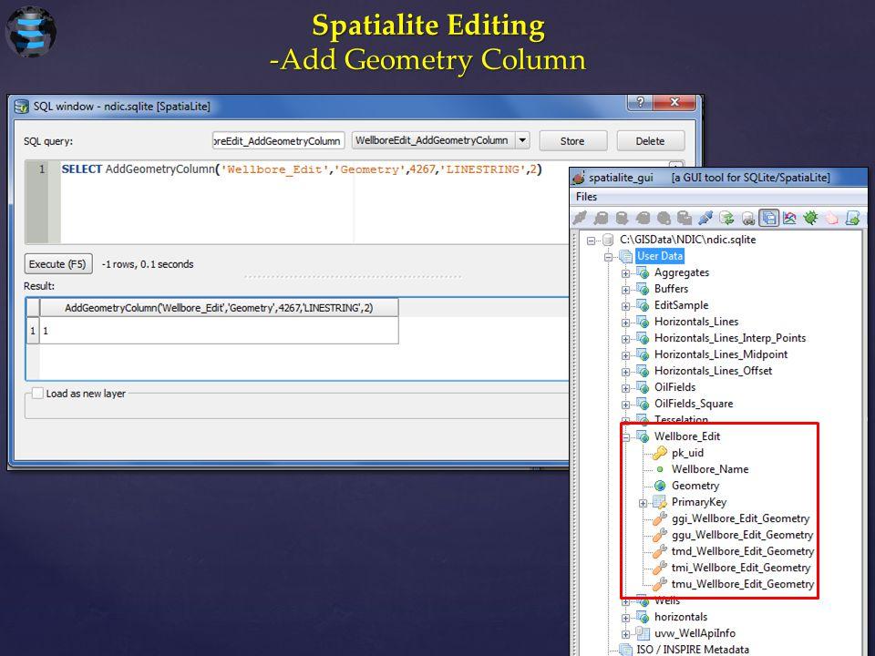 Spatialite Editing -Add Geometry Column