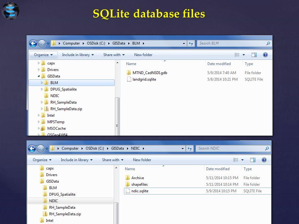 SQLite database files