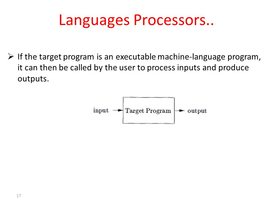 Languages Processors..  If the target program is an executable machine-language program, it can then be called by the user to process inputs and prod