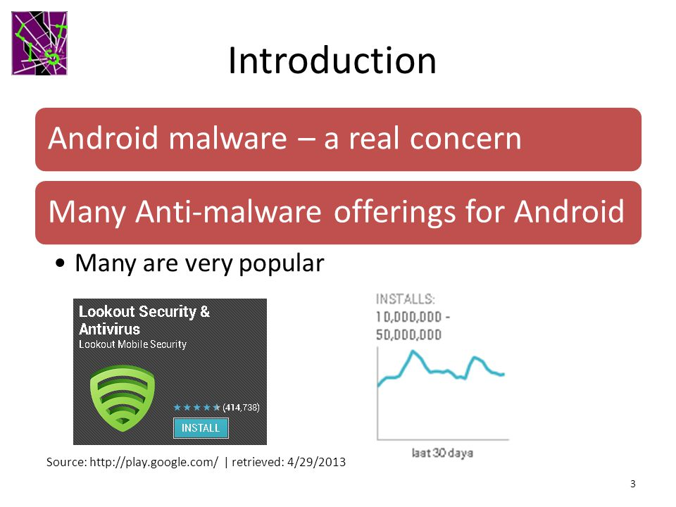 Introduction Android malware – a real concernMany Anti-malware offerings for Android Many are very popular 3 Source: http://play.google.com/ | retrieved: 4/29/2013