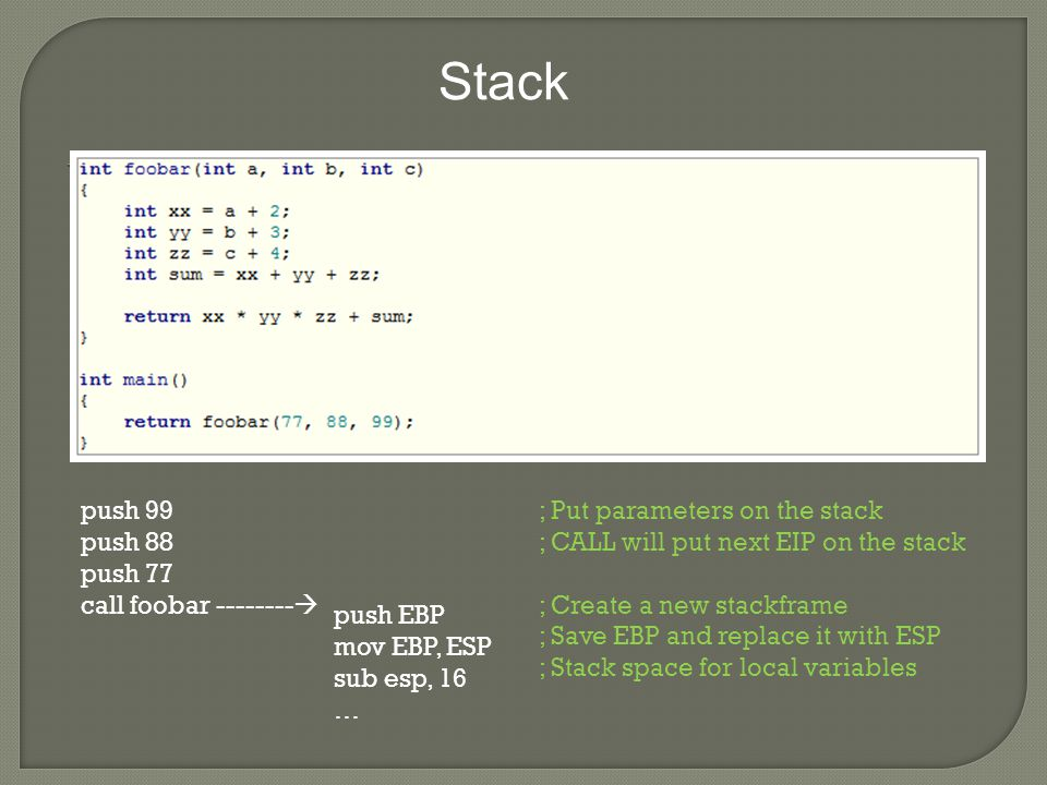 Stack push 99 push 88 push 77 call foobar --------  push EBP mov EBP, ESP sub esp, 16 … ; Put parameters on the stack ; CALL will put next EIP on the stack ; Create a new stackframe ; Save EBP and replace it with ESP ; Stack space for local variables